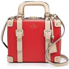 kate spade new york Go Fly A Kite Luggage Satchel ($440) ❤ liked on Polyvore featuring bags, handbags, cherry liqueur, kate spade, vintage purses, red satchel purse, kate spade bags and strap purse