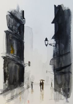 original watercolor painting of a rainy street scene by atelier28