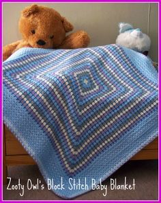 Block Stitch Baby Blanket ~ free pattern This is an idea I've seen in pics...granny square with additional stitches in between rows. This link has INSTRUCTIONS!! YAY!