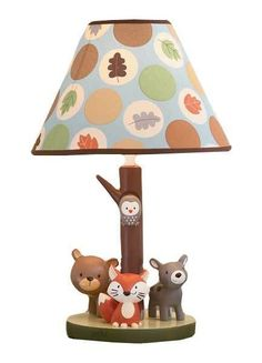 Carters Forest Friends Owls, Bears and Fox Neutral Boys or Girls Lamp w/ Leaves