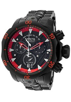 Invicta 1599 Watches,Men's Venom Reserve Chronograph Black Dial and Stainless Steel Bracelet, Fashion Invicta Quartz Watches