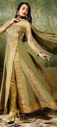 Malaika Arora Khan New Deep Beige and Mehendi Green Salwar Kameez Stylish Gown, Stylish Dresses For Girls, Churidar, Designer Salwar Suits, Designer Dresses, Designer Anarkali, Pakistani Outfits, Indian Outfits, Suit Fashion