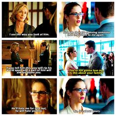 Arrow - Oliver, Moira & Felicity #2.13   One of my favorite moments of communication.