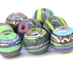 Escape  Round Striped Lampwork Glass Bead Set in by sarahhornik, $56.00
