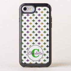 Trendy Monogram Mardi Gras Fleur De Lis Speck iPhone Case - monogram gifts unique design style monogrammed diy cyo customize