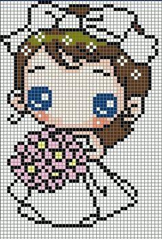 Cute Bride Hama Perler Bead Pattern or Cross Stitch Chart Cross Stitch For Kids, Cute Cross Stitch, Beaded Cross Stitch, Crochet Cross, Cross Stitch Charts, Cross Stitch Designs, Cross Stitch Embroidery, Cross Stitch Patterns, Hama Beads Design