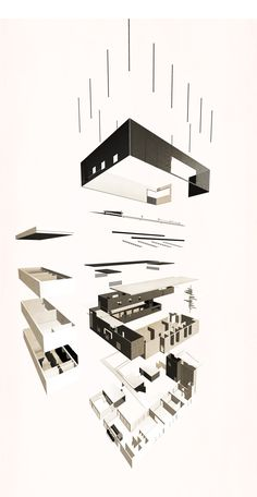 Exploded isometric drawing of James Stirling archive proposal, by Damien Graham
