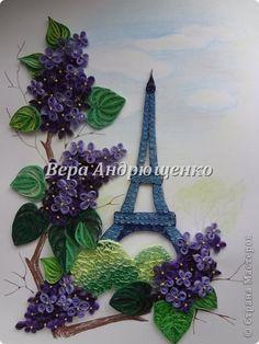 Pictură murală desen de primăvară în Paris quilling margele de hârtie Pastel dungi foto 1