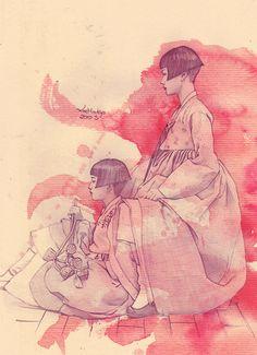 Korean girls using a hanbok (a traditional dress of Korea)