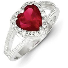 Sterling Silver Red CZ Heart Ring ($147) ❤ liked on Polyvore featuring jewelry, rings, sterling silver, cubic zirconia heart ring, heart shaped rings, sterling silver rings, heart ring ve red ring