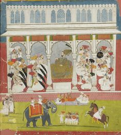 A thakur holding court in his thikana, Marwar, c.1750 | sotheby's