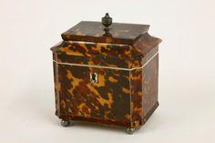 Regency tortoiseshell single compartment tea caddy