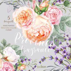 lavanda Rose fiorisce l'acquerello elementi di ReachDreams su Etsy