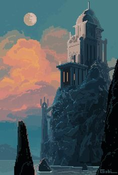 Greek castle by the Water Pixel Art Gif, Pixel Art Games, Nail Bat, Arte 8 Bits, Pixel Art Background, 8 Bit Art, Affinity Photo, Art Inspo, Aesthetic Wallpapers