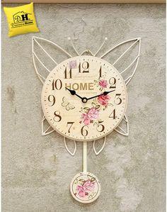 Orologio pendolo farfalla home shabby chic angelica home u for La maison de rose arredamento shabby chic country provenzale roma