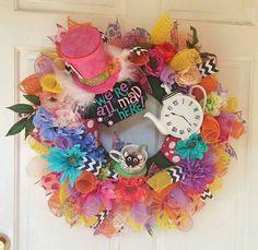 New to RedWreath on Etsy: Custom Made Deco Mesh Wreath- Deco Mesh Wreath- Pick Your Theme- Alice in Wonderland Wreath (89.00 USD)