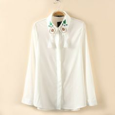 FLOWER EMBROIDERY COLLAR SHIRTS BLOUSES