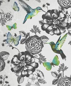 Garden Utopia - Butterfly - Hummingbird - Silver / Charcoal / Teal - Wallpaper in Home, Furniture & DIY, DIY Materials, Wallpaper & Accessories | eBay