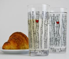 Drinking Glasses With Birch Trees & Red Hearts - Pair Of 2 - Personalized Valentine's Day Gift by Mary Elizabeth Arts on Gourmly