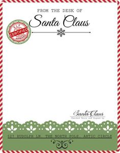 Free printable Letter from Santa, New Grace Photography, Troutdale Oregon, serving Portland Gresham Vancouver Sandy and more. Free Santa Letter Template, Free Printable Santa Letters, Christmas Letter Template, Free Letters From Santa, Templates Printable Free, Printables, Christmas Letterhead, Elf Letters, Letterhead Template