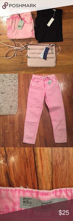 NWT TOPSHOP MOTO Pink Acid Mom Jeans-size 28 Crafted from an edgy pink acid washed cotton, our MOTO Mom jeans come in an authentic rigid-look denim. Cut with a high-waist and a tapered leg, they feature multiple pockets and classic trims. Wear them folded at the cuffs to keep them looking cool. 100% Cotton.  