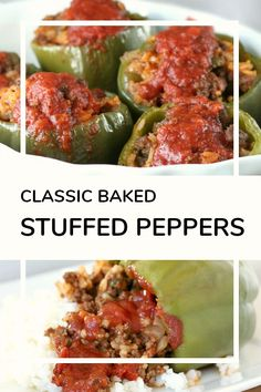 Classic stuffed peppers are an easy and comforting meal of tender bell peppers filled with ground beef and rice, baked and topped with your favorite sauce. Meat Recipes, Dinner Recipes, Cooking Recipes, Hamburger Recipes, Recipies, Stuffed Bell Peppers Easy, Crock Pot Stuffed Peppers, Sausage Stuffed Peppers, Hungarian Stuffed Peppers