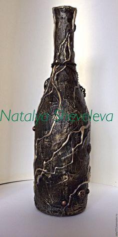 Wine Bottle Art, Lighted Wine Bottles, Diy Bottle, Wine Bottle Crafts, Bottles And Jars, Glass Bottles, Decoupage Glass, House Lamp, Jar Art
