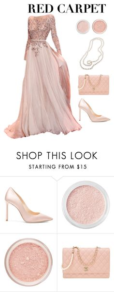 """Red Carpet at the Oscars #1"" by hideous ❤ liked on Polyvore featuring Jimmy Choo, Bare Escentuals, Chanel, Carolee, RedCarpet, Oscars, contest, Pink and formal"