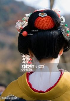 Stock Photo : Japan, Kyoto, maiko, rear view, close-up