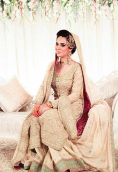 Pakistani Bride - Bride's Outfit by Cherry Wrap Pakistani Wedding Outfits, Pakistani Bridal Wear, Pakistani Wedding Dresses, Bridal Outfits, Bridal Dresses, Pakistani Couture, Bridal Lehenga, Desi Bride, Asian Bridal