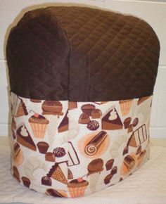 Chocolate Brown Quilted Desserts Theme Cover for Sunbeam Heritage Series 4.6qt Mixmaster Stand Mixer w/6 Pockets