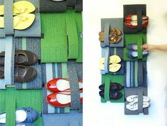 pieces of carpet turns into a Shoe Holder