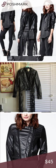 Lira Night Rider Faux Leather Moto Jacket Give 'em attitude in the Night Rider Faux Leather Moto Jacket from Lira. A leader among the pack, we love this jacket's vegan leather construction, removable fringe trim and zipper details. Gently used!  Faux leather jacket Front zip closure Side pockets Embroidery details Removable fringe trim at the hem Model is wearing a small 100% polyurethane Machine washable PacSun Jackets & Coats