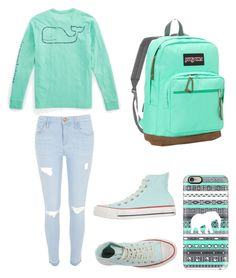 """School"" by oxannarotar on Polyvore featuring Vineyard Vines, River Island, Converse, JanSport, Casetify, women's clothing, women, female, woman and misses"
