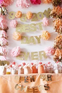 best day ever banner and mason jar drink glasses