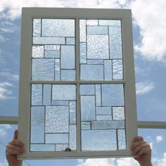 """Clear Textured Stained Glass Mosaic Vintage  Repurpose Wooden Window  """"I Can See Clearly"""""""