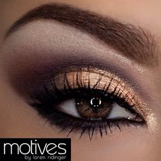 Brown smokey eye. Would look really good with a red dress or top. Very appropriate to wear to a holiday party. Red can be hard to pair makeup with and this with a nude lip and peach blush would be perfection.