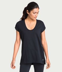 crane & lion pima deconstructed short sleeve tee black, athleisure, activewear, womens fitness strength and style