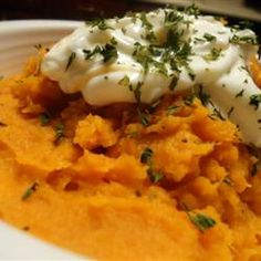 "Mashed Sweet Potatoes | ""This is so easy to make and it's delicious with pork tenderloin."""