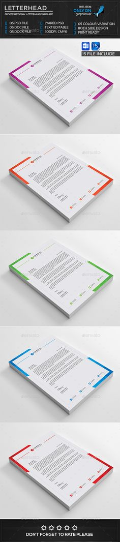 Letterhead Stationery printing, Letterhead and Print templates - business letter heading template