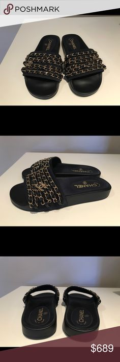 Chanel Pool Slides Navy Size 36 Chanel Pool Sides - Navy - Gold Chain Hardware - Size 36 - Sold out everywhere! - Comes with Box & Shoe Bags - Bought from Barney's New York for $700 plus tax (came to $759.50-see image of receipt for proof of purchase) - I only tried on a few times at home but never wore them outside - very dark navy color, almost looks black - message me with questions - final sale! CHANEL Shoes Sandals
