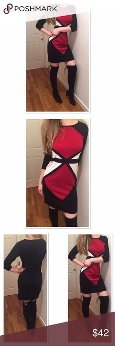 Nine West new black and red pattern sweater dress Elegant and sexy sweater dress to keep you warm and in style this winter! Size S but can fit size M. Style it with boots for all the upcoming parties! New never worn, with tags. Soft and very comfortable. Nine West Dresses Long Sleeve