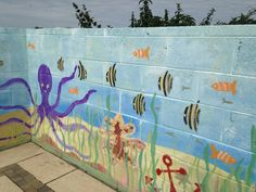 More fishy business Outside wall mural Handpainted by Bronwyn