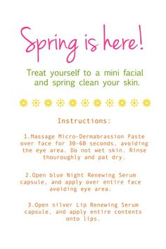 Spring clean your face with Rodan + Field's Microdermabrasion Paste, Night Renewing Serum, and Lip Renewing Serum...all available in a free mini facial. wwww.jvire.myrandf.com