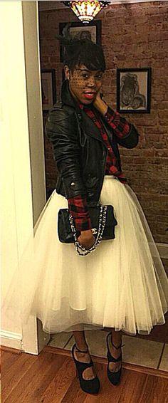 #Stylebyelle #TutuSkirt #White #PlaidShirt #LeatherJacket #Chanel #StyleInspiration #FashionInspiration #Inspiration #Style #Fashion @stylebyelle