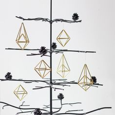 brass himmeli ornaments / set of 6 / modern hanging mobile.