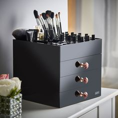 Beautify Large Clear Acrylic Cosmetic Makeup Organiser Stand with 3 Drawers, 21 Brush/Lip Gloss Holders & 6 Individual Top Sections: Amazon.co.uk: Beauty