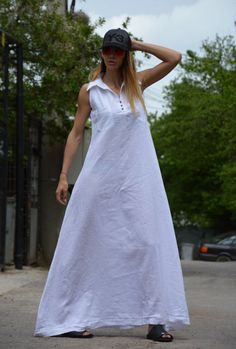 bfefbbe1c3 Casual White Extravagant Linen kaftan - maxi loose ♥ Sexy Linen Maxi Dress  ♥ Hot