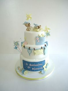 A simple and tender christening cake for Riccardo