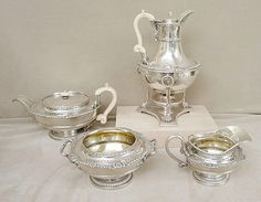 Silver tea sets remind me of Saturdays with my dad, we'd see different pieces of sets in every antique shop we went to